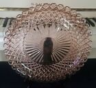 14 INCH PINK DEPRESSION ROUND GLASS PLATTER SCALLOPED EDGES AND GEOMETRIC DESIGN