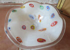Vintage Murano Blown Glass Dish Bowl Millefiori White