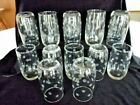 VINTAGE BIG JO FLOUR 12 OZ. TUMBLERS, CLEAR CUT GLASS ETCHED, ANCHOR HOCKING