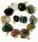 Natural Agate Mix Heart Pendants 10 to 22mm Natural Charm Drops India 100pc lots
