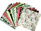 12X12 Scrapbook Paper lot 14 Sheets Christmas Holiday Prints Card Making L242
