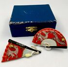 Vintage Chinese Salt Pepper Shakers Folding Fans 1940s or 1950s Asian Red Gold