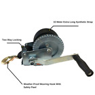 1200LBS/544KGS Hand Winch 2-ways 15 Meter Synthetic Strap Manual Car Boat 4WD
