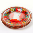 SET OF 6 GLASS PLATES WITH POPPY FLOWERS DECAL 75 DINNER PLATES FROM RUSSIA