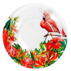 SET OF 6 GLASS PLATES WITH FLAMINGO FLORAL DECAL 75 DINNER PLATES FROM RUSSIA