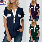 US Women Short Sleeve Loose T Shirts Summer V neck Tops Blouse Casual Button Tee