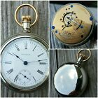 18s Waltham 1883 Sterling Swingout American Pocket Watch Crescent parts repair