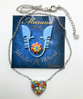 Gorgeous Millefiori Murano Heart 925 Sterling Silver Pendant 16 Necklace NEW