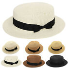 Women Holiday Straw Bowler Boater Flat Cap Wide Brim Bowknot Beach Sun Visor Hat