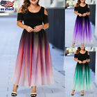 Plus Size Womens Cold Shoulder Gradient Maxi Dress Ladies Party Swing Long Dress