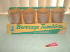 Jeannette Glass Gold Tumblers (4) NOS Minty in box