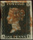 Great Britain 1840 1d Penny Black AE Plate 1b Clear Watermark Red Maltese X