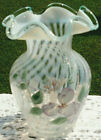 Fenton French Opalescent Spiral Optic Vase Hand Painted w Aqua Crest 575H