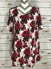 L Large LuLaRoe Perfect T NEW PRINT Floral Roses Water Color Red Black on White