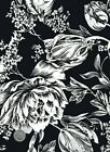 Cotton Black  White Floral Print Fabric 1 2 Yard X 44 Sewing  Quilting