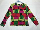 Womans Dolcetti Long Sleeve Top SIZE L SILK Cotton Blend Green Pink Red