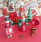 Wooden Christmas Ornament Lot VINTAGE Bell Tree Soldier Mailbox Lot of 6
