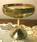 Hawkes Gold Plated Sterling Base compote Gorgeous Amber Glass 5 Tall Gold Rim