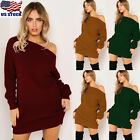 Women Knit Off One Shoulder Stretch Sweater Dress Jumper Tops Bodycon Mini Dress