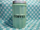 Jadeite Green Glass Large Coffee Canister with Metal Lid in Excellent Condition