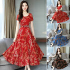 Women Sexy Boho Floral Print Short Sleeve Long Skirt Dress Party Beach Travel