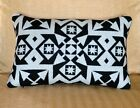 Wool Lumbar Pillow Cover Black and White Native decor handcrafted of Pendleton