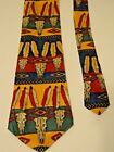 Native American Indian Bull Skull Necktie Feathers Southwest Motif Novelty Tie