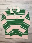 Vintage Barbarian Rugby Long Sleeve Womens Medium Ireland Clover Pink Green 90s