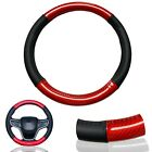 1X Red Carbon Fiber PU Leather Steering Wheel Cover 15