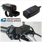 Motorcycle Waterproof Dual USB Phone GPS Fast Charger+Blue LED Voltmeter DC 12V