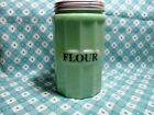 Jadeite Green Glass Large Flour Canister with Metal Lid in Excellent Condition