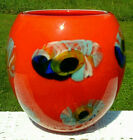 MURANO Art Glass Hand Blown Bright Red Orange Vase 95H x 95W Large Heavy