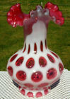 Vintage FENTON Glass Cranberry Opalescent Coin Dot Ruffle Crimped Vase 725H