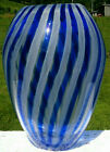 Murano Art Glass Blue Clear White Stripe Large Vase 1075H x 85W Beautiful