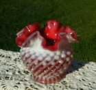 Fenton Deep Cranberry Swirl Opalescent Hobnail Rose Bowl 4H MINT