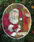 Handmade Cross Stitch Christmas Ornament Completed Vintage Santa Claus Cookies