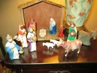 Vintage Hand Painted Sm Scale Nativity Set Hard Plastic Great 1950s Look
