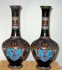Fine Antique Japanese Cloisonne Enamel Pair Vases w Dragon and Pheonix Meiji