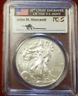2015 W BURNISHED SILVER EAGLE PCGS SP70 MERCANTI FIRST DAY OF ISSUE FDI DENVER