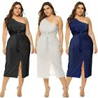 Women Plus Size Sexy Off Shoulder Sleeveless Knotted Glitter Party Formal Dress