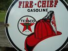 OLD 1951 TEXACO FIRE CHIEF GASOLINE PORCELAIN GAS STATION SIGN