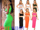 UK Womens Maxi Skirt Crop Top 2 Piece Set Dress Ladies Bodycon Co ord Knit 6-14