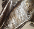 BR802 Leather Cow Hide Cowhide Upholstery Craft Fabric Brown Gold Embossed Gator
