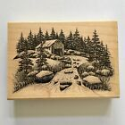 Sandscapes OLD MILL LARGE Rubber Stamp Mountain Landscape Pine Trees River Wood