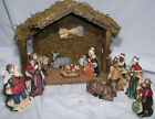 Christmas Nativity 10 Pc Porcelain Figures Wooden Stable Jewel Tones 4 Tall