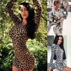 US Women Sexy Long Sleeve Bodycon Party Evening Cocktail Club Short Mini Dress