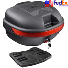 30L Scooter Moped Tail Box Trunk Luggage Storage Carrier Travel Lock Top Case US