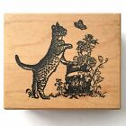 PSX Cat Butterfly Rubber Stamp F 1250 Garden Flowers Kitten Playing Rose Wood