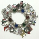 VTG Sterling 835 Silver CHRISTMAS CHARM BRACELET 28 Charms w Crystal Glass Cabs