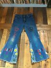 Vintage 1970s HIPPIE JEANS Bell Bottoms Wide Leg PEACE LOVE Embroidery unisex 34